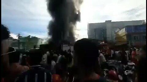 Huge fire in a building