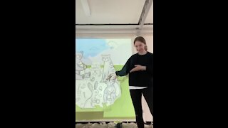 Woman paints an incredible primary school mural!