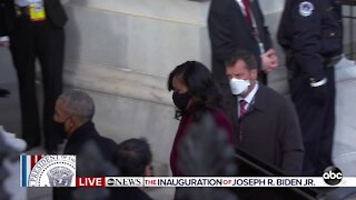 Obamas arrive to Biden inauguration