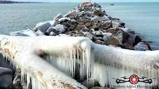 Drone footage captures stunning ice forming on Lake Michigan