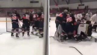 Epic high school playoff hockey brawl