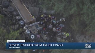 MCSO: Driver rescued from truck after crashing at Bartlett Lake