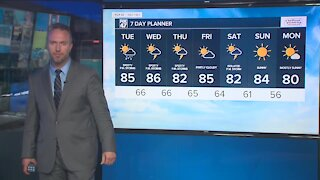 Partly sunny with an afternoon and evening chance for a few showers