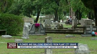 Flowers, balloons removed from Plant City Grave