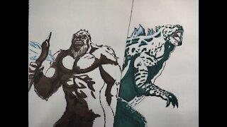 Kong vs Godzilla Drawing