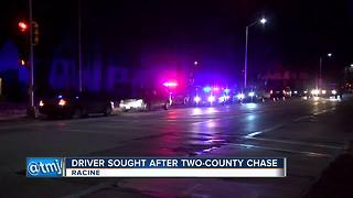 Driver wanted after police chase through two counties