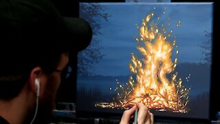 Acrylic Landscape Painting of a Bonfire - Time Lapse - Artist Timothy Stanford