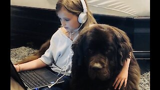 This little girl loves staying home with her doggy best friend