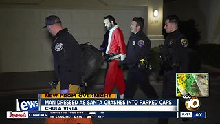 Driver dressed as Santa Claus arrested, accused of crashing into parked vehicles in Chula Vista