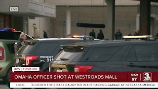 Suspect arrested, officer shot at Westroads Mall
