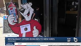 Restaurant offers bonuses to new hires