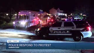 Police disperse protesters in Germantown Tuesday night after disorderly conduct incident