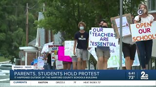 Dozens protest in Harford County calling for schools to reopen