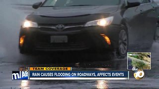 Rain causes flooding on roadways, affect events
