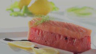 Roasted Watermelon and Natural Salmon Jamaica Honey and Yellow Lemon