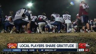 Local football players share gratitude