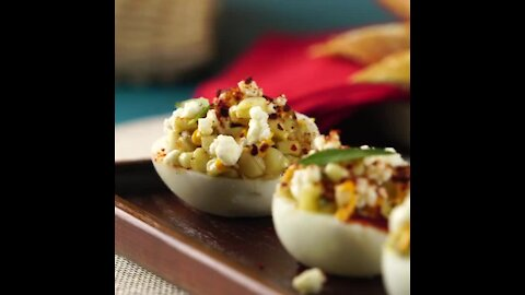 Corn Esquites Stuffed Eggs