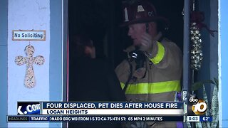 Four displaced, pet dies after Logan Heights fire
