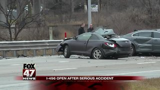 I-496 open after serious crash Friday morning
