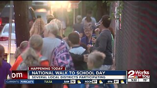 Several districts participate in National Walk to School Day