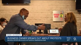 Business owner sends message to protesters, looters