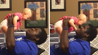 Adorable baby is totally amused by dad's beatbox