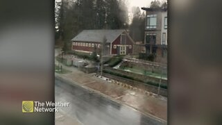 Timelapse: Storm moves over neighbourhood bringing small hail