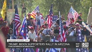 Biden supporters celebrate, Trump supporters protest election results in Arizona