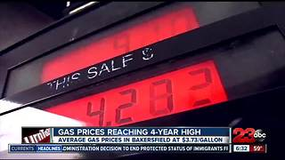 Gas prices reaching 4-year high nationwide