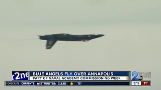 Blue Angels fly over Annapolis for Naval Academy Commissioning Week