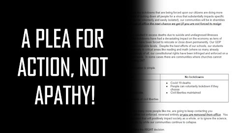 A Plea for Action Not Apathy!