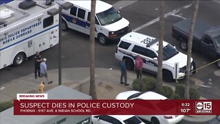 Developing: Suspect dies while in police custody, Phoenix police say