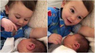 Menino adora a irmã recém-nascida