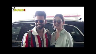 SPOTTED! Lovebirds Rahul Vaidya-Disha Parmar flying to Chandigarh to shoot for a music video