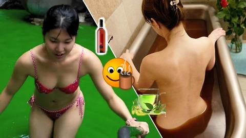 Crazy japanese baths: WINE, GREEN TEA, and COFFEE!!