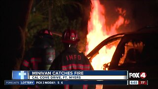Fort Myers crash leads to mini-van fire