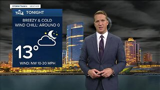 Breezy and cold Thursday night