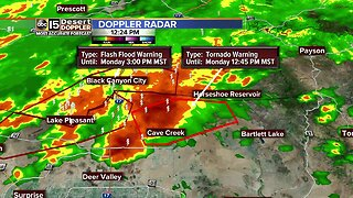Tornado Warning issued for area north of the Valley