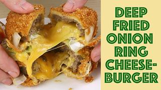 Deep fried onion ring burger guac sandwich