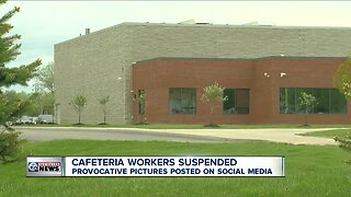 Cafeteria workers suspended after provocative pictures posted on social media