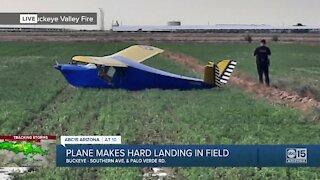 Plane makes hard landing in Buckeye field