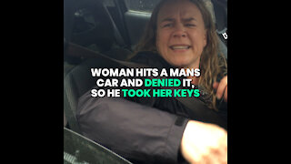 Woman Refuses To Give Her Details After Hitting Car!