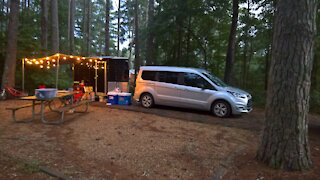 DIY Cargo trailer to travel trailer camper conversion walkthrough at campsite