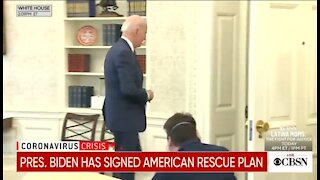 Biden Signs $1.9 Trillion Bill And Ignores Reporters Questions