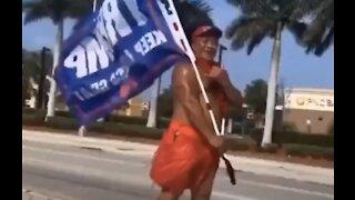 Hawaiian Man Flys Trump Flag: Trump 2020 meme