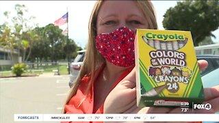 SWFL woman donates crayons to schools