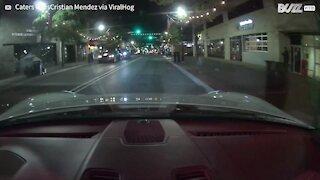Skatista furioso quebra para-brisa de veículo