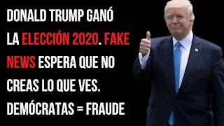 Donald Trump ganó la elección 2020. Fake News espera que no creas lo que ves. Demócratas = fraude