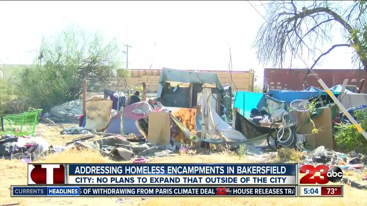 Homeless encampments outside of Bakersfield city limits