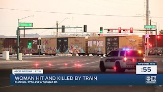 PD: Woman dies after being struck by train in Phoenix